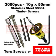 3000pcs - 10g x 50mm Stainless SS304 Torx Decking Screws + Macsim Clever Tool