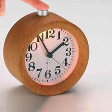 Classic Small Round Silent Table Desk Snooze Beech Wood Alarm Clock Night Light
