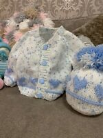 Boys hand knitted baby sets 0-3 Months