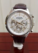 Genuine ROTARY Men's Two Tone Brown leather Strap Chronograph Watch RRP £180