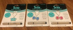 3 Twigo Pet ID Tags for Dogs & Cat Includes Pen   Blue Bone Green  Blue Crown