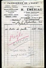 """NANTES (44) FAIENCE VERRERIE PORCELAINE ,FAIENCERIE de l'OUEST """"H. EMERIAU"""" 1930"""