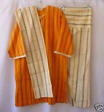 Indian Suit Salwar Kameez Dupatta Medium Orange White Striped 100% Cotton New