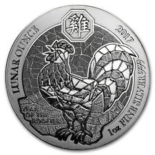 2017 Rwandan Lunar Year Of The Rooster 1 oz .999 Silver BU Round Bullion Coin