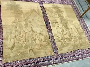 Pair Of Vintage Antique French Tapestries