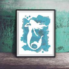 Blue Watercolor Mermaid Fish Ocean Beach Art Counted Cross Stitch Pattern