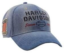 Harley-Davidson Men's Old Glory Washed Blue Denim Baseball Cap, Blue BCC14928