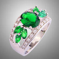 Oval & Marquise Cut Emerald Quartz White Topaz Gemstone Women Hollow Silver Ring
