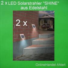 2x LED Solarstrahler Solar Wandstrahler Solarleuchte Edelstahl Shine Wandleuchte