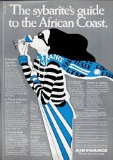 1969 Air France PRINT AD Airlines 'The Sybarite Guide to the African Coast'