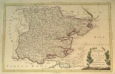 1779 Genuine Antique Hand Colored Map Essex Co, England. Pretty Cartouche. Zatta