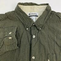 Columbia Button Up Shirt Mens XXL Green Plaid Long Sleeve Casual