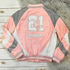 Womens Large Baby Phat Pink Embroidered Leather Bomber Jacket