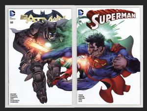 Batman #50 & Superman #50 Neal Adams CONNECTING Cover Variant LOT Set * DC
