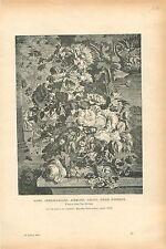 Bouquet de fleurs Roses Anémones Pavots Soucis Jan van Huysum GRAVURE PRINT 1913