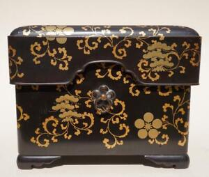 Japanese Black And Gold Lacquer Box, 19th Century.