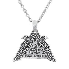 Valknut Raven Warrior Valkyrie Odin's Huginn and Muninn Crow Viking Necklace