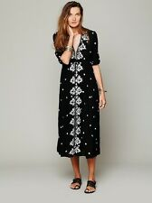 FREE PEOPLE Boho Embroidered Fable Maxi Summer Empire Rayon Dress black white S