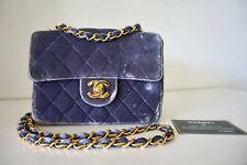 100% Authentic CHANEL Vintage Square Mini Flap Dark Lilac Velvet Cross Body Bag