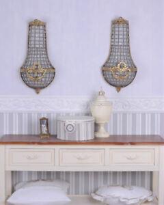 Two Baroque Wandappliken Wall Chandelier Light Glass Pendants Gold Lamp