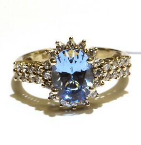 925 Sterling Silver created Blue Spinel gosnenite womens ring 3.1g estate