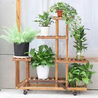 Multi-storey Wooden Plant Stand 7 Tier Wheel Shelf Rack Home Garden Corner Decor