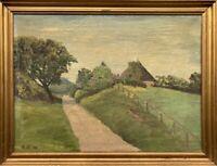 Landschaft mit altem Bauernhaus ON Monogramm 1940 Sommerlandschaft  36 x 47 cm