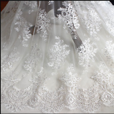 """1/2 Yard Lace Tulle Embroidery Floral DIY Fabric Wedding Bridal Dress 51"""" Width"""