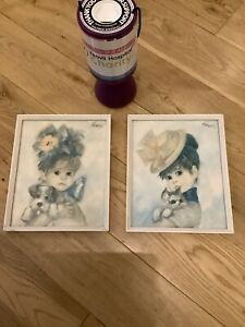 2 X Vintage Old Pictures Amanda By Strevens, Boots Retro Art Girl Puppy & Kitten