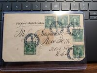 1913 ENVELOPE sent from Venezuela to New York w/ 6 Venezuelan Stamps