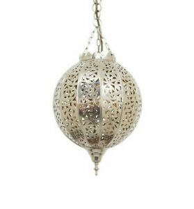 Moroccan Silver Ball Ceiling Pendant with Hook,Cable & Chain - H39xW22cm Free PP