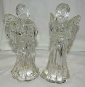 Pair Crystal Angels Candleholders for Christmas 6 Inch Tall