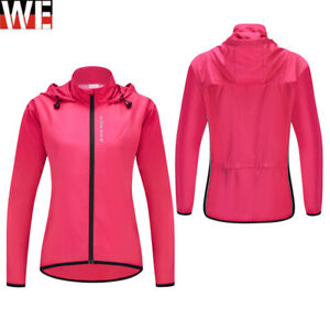 Cycling Jacket Ladies Hooded Coat Riding Windbreaker Hi Vis Outdoor Sports Top
