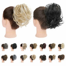 100% REAL Messy Bun Scrunchie Hair Extensions Ponytail Blonde Hairpiece As Human