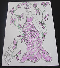 Roz Jennings Fashion Drawing Original Art Work Illustrator Laura Ashley 1970s A2