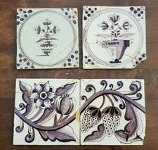 Four antique Dutch Delft Manganese Tiles Flower Vases Grapes  Not Perfect