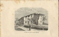 Stampa antica GALBIATE Cascina MANZONI Bartesate Lecco 1894 Antique print