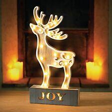 Sentik 38cm Pre Lit Wooden 17 LED Reindeer Light Table Lamp Christmas
