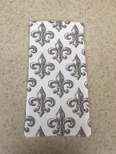 Sunglass / Eyeglass Soft Fabric Case - Gray & White Fleur de Lis Pattern - NEW