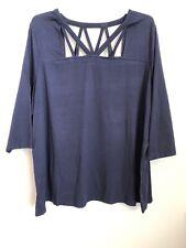 ROAMAN'S Women Plus Size 34/36 Navy Slit Neck and Shoulder Shirt Top Blouse