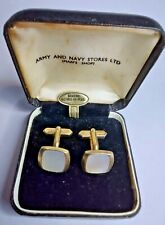 Vintage Mother of Pearl Cufflinks in Army & Navy Gift Box - Mens Jewellery