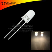 100pcs LED 5mm Diffused White-Warm Wihite Light Emitting Diodes Round Top LED