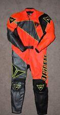 Dainese 2 Piece Leather Race Suit EU 56 Orange Black Yellow Grey !! VERY NICE !!