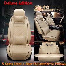 Deluxe PU Leather Car Seat Cover Cushion 5-Seats Front + Rear w/ Pillows Size M