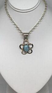 Amazonite Small Flower 925 Silver Pendant Fashion Jewellery 925 Silver