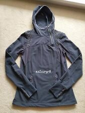 Lululemon Alpine Zippered Pullover with Ruffling and Cuffins Deep Coal Grey 6