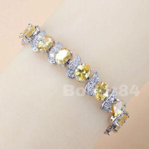 BOLISS Citrine & White Topaz 925 Sterling Silver Tennis Gemstone Bracelet Chain