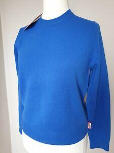 Hunter Cobalt Blue Merino Wool Jumper Casual Walking Country Size M 12 14 NEW
