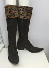 DONALD PLINER WESTERN COUTURE COLLECTION BOOTS BROWN SUEDE ANIMAL PONYHAIR 9 1/2