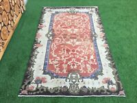 4'5''x7'5'' Vintage Oushak Rug,Turkish Large Faded Rug,Antique Ushak Carpet Rug
